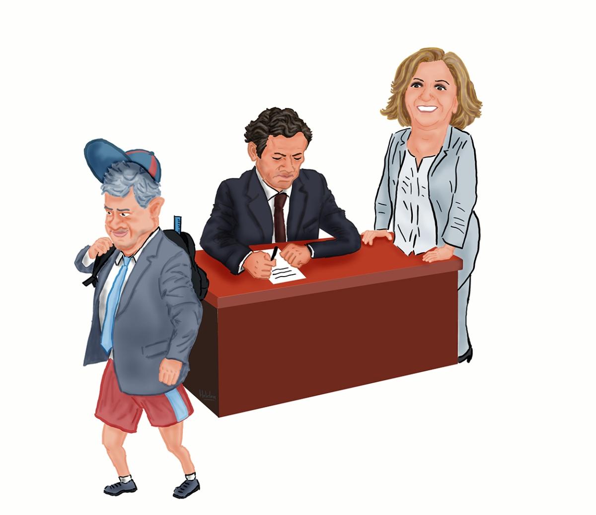 """Cartoon: O menino Pedro frequenta a """"explicadora"""" Ana Clara para melhorar as notas..."""